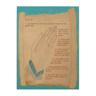 Praying Hands & Biblical Scroll Ps 119:11-18 Wood Wall Decor