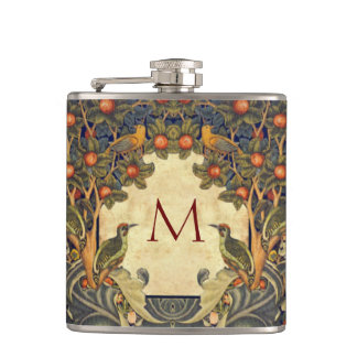 Pre Raphaelite Wm. Morris CUSTOMIZABLE MONOGRAM Hip Flask
