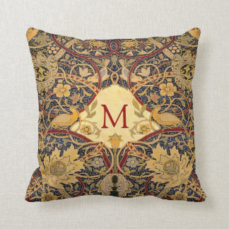 Pre Raphaelite Wm. Morris CUSTOMIZABLE MONOGRAM Throw Pillow