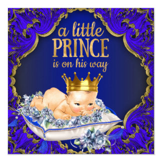 Precious Blue and Gold Royal Prince Baby Shower Card