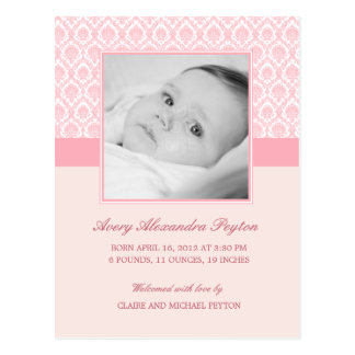 Precious Damask Baby Girl Birth Announcement Postcard