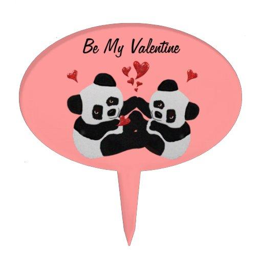 Precious Panda Valentine Cake Toppers