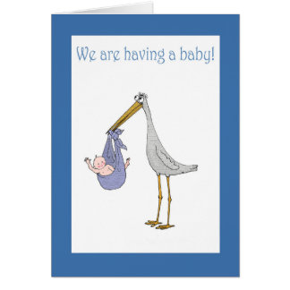 Pregnancy announcement, stork and baby greeting card