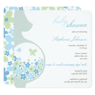 Pregnancy & Blue Daisies Boy Baby Shower Invite