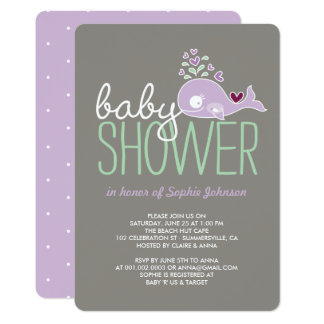 Pregnant Lilac Mummy Whale Girl Baby Shower Invite