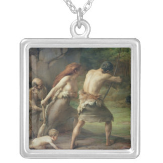 Prehistoric Man Hunting Bears, 1832 Silver Plated Necklace