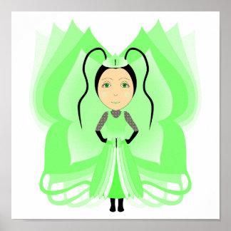 Prehnite Butterfly Princess Posters