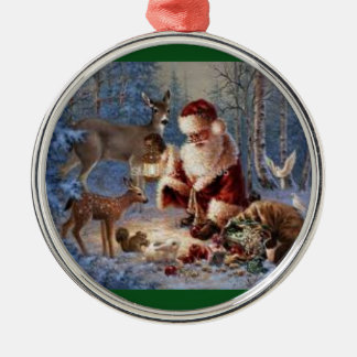 Premium Round Ornament/Santa feeding the animals Christmas Ornament