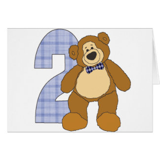 Preppy 2 Year Old Teddy Bear with Bow Tie Greeting Card