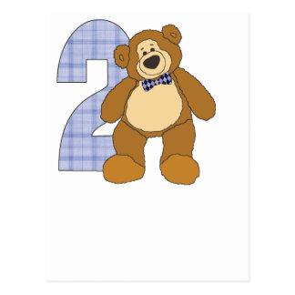 Preppy 2 Year Old Teddy Bear with Bow Tie Postcard