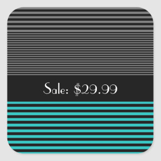 Preppy and Fresh Teal Stripes Price Tag