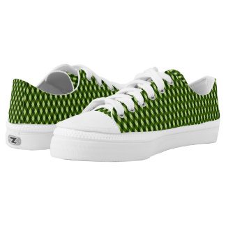 Preppy Argyle Diamond Plaid in Shades of Green Low Tops
