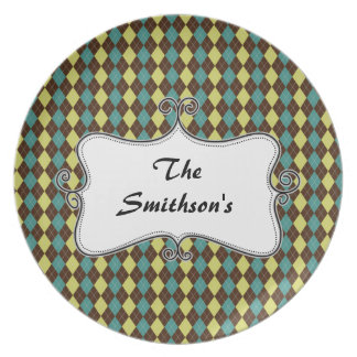 preppy argyle green & chocolate brown personalized party plate