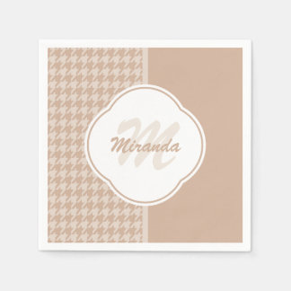 Preppy Beige and Tan Houndstooth Monogram and Name Paper Napkins