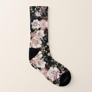 Preppy bohemian country vintage black floral socks