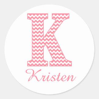 Preppy Classic Pink Chevon Letter K Monogram Round Sticker
