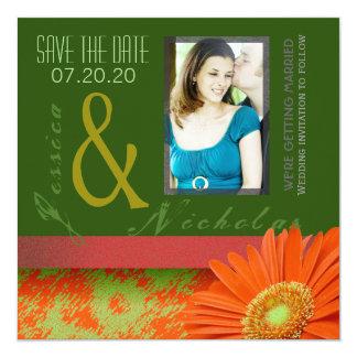 Preppy Green Orange Gerbera Floral Save The Date 13 Cm X 13 Cm Square Invitation Card