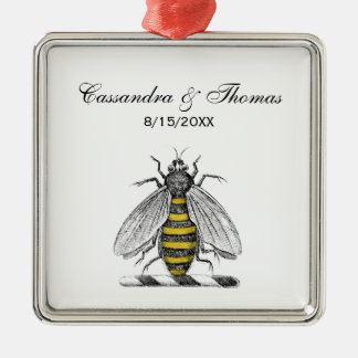 Preppy Heraldic Vintage Bee Coat of Arms Emblem C Christmas Ornament