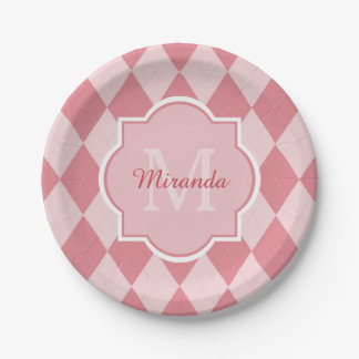 Preppy Light Pink Argyle Girly Monogram Party Name Paper Plate