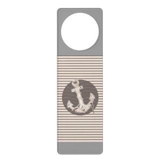 Preppy Nautical beige stripes beach Anchor Door Hanger