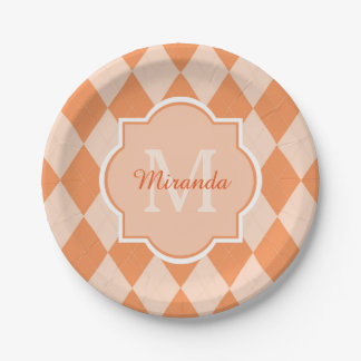 Preppy Orange Argyle Girly Monogram and Name Paper Plate