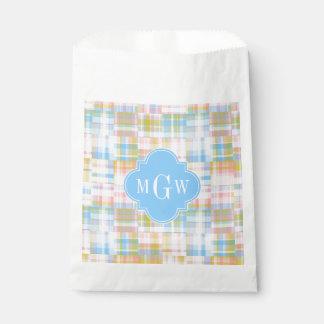 Preppy Patchwork Madras Pastel Quatrefoil Initials Favour Bags