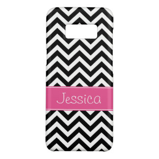 Preppy Pink and Black Chevron Pattern Personalised Case-Mate Samsung Galaxy S8 Case