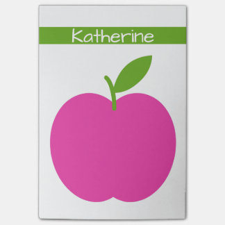 Preppy Pink and Green Apple Personalized Post-it Notes