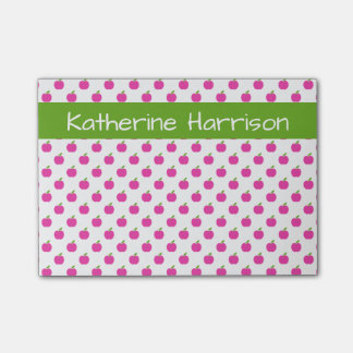 Preppy Pink and Green Apples Personalized Post-it Notes