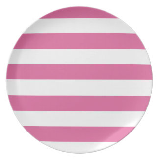 Preppy Pink And White Striped Plate