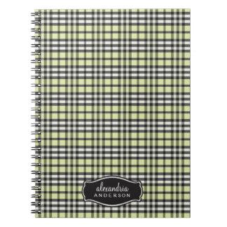 Preppy Plaid Custom Notebook (black/green)