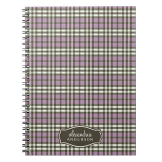 Preppy Plaid Custom Notebook (chocolate/purple)