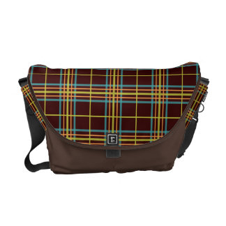 Preppy Plaid Pattern Retro Teal Orange Lime Brown Courier Bags