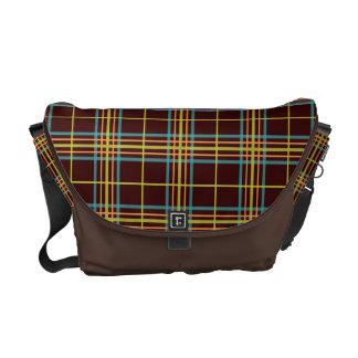 Preppy Plaid Pattern Retro Teal Orange Lime Brown Courier Bags