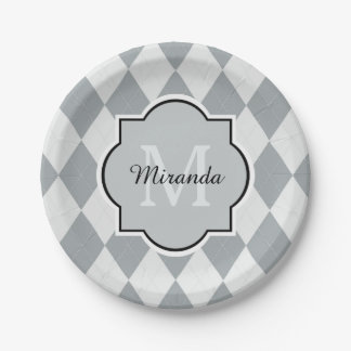 Preppy Soft Gray Argyle Girly Monogram and Name Paper Plate