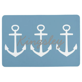 Preppy White Anchors on Carolina Blue Personalized Floor Mat