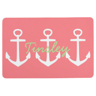Preppy White Anchors on Coral Pink Personalized Floor Mat