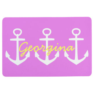 Preppy White Anchors on Spring Violet Personalized Floor Mat