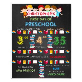 Preschool Sign Boy,low price,black & books,8x10 Photographic Print
