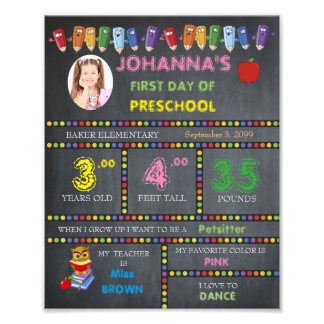 PRESchool Sign Girl,low price,PHOTO,8x10 Photo Print
