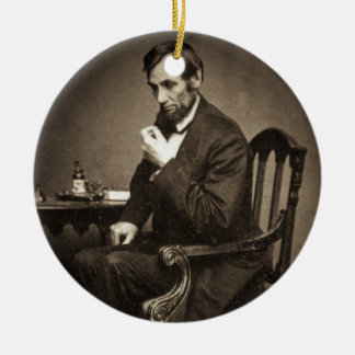 PRESIDENT ABRAHAM LINCOLN 1862 STEREOVIEW CHRISTMAS ORNAMENT