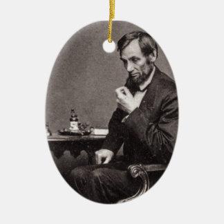 PRESIDENT ABRAHAM LINCOLN 1862 STEREOVIEW CHRISTMAS ORNAMENT