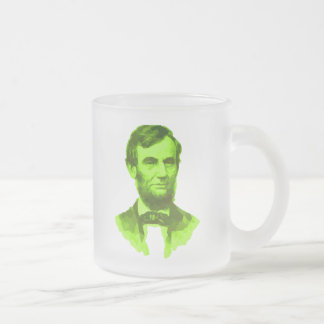 PRESIDENT ABRAHAM LINCOLN GREEN FACE PORTRAITGifts Frosted Glass Coffee Mug