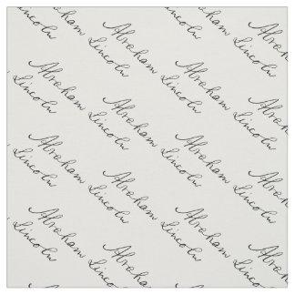 President Abraham Lincoln Handwriting Signature Fabric