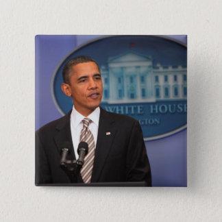 President Barack Obama makes an announcement 15 Cm Square Badge