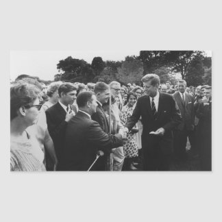 President Kennedy Greets Peace Corps Volunteers Rectangular Stickers