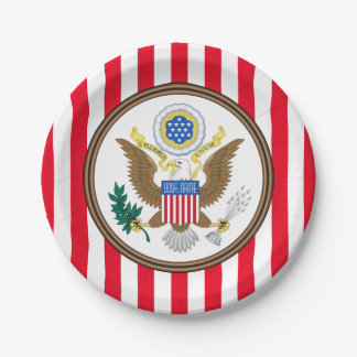 Presidential Seal Stripe Personalize Paper Plate