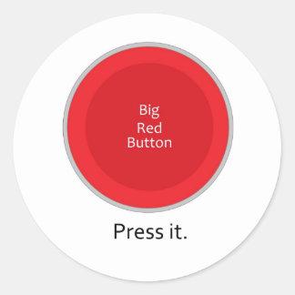 Press the button classic round sticker