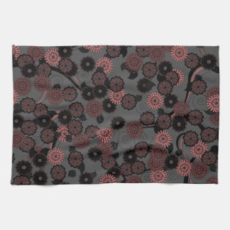 Pretty Abstract Floral Pattern in Dark Dusky Pink Towels