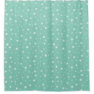 Pretty Aqua and White Stars Celestial Sky Shower Curtain